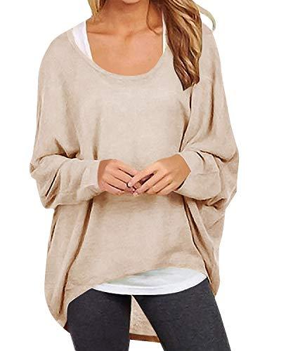 Yidarton Frauen Asymmetrisch Langarm Pullover Pulli Strickjacke Oversized Baggy Lose Jumper T-Shirt Tops Bluse (L, Z-Beige) -