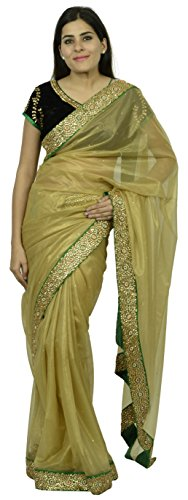 Essay By Salim Asgarally Women's Net Tissue Saree (Beige)