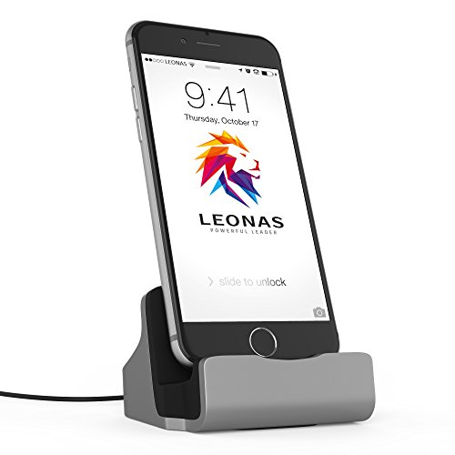 LEONAS® Ladestation Ladegerät Docking-Station Apple i-Phone X 8 7 6 6S 5 SE i-Pod Touch Dock-Station in Silber