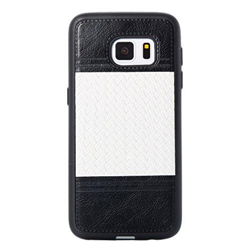 Cover Per Samsung Galaxy S7, Asnlove TPU Moda Morbida Custodia Linee Intrecciate Caso Elegante Ultra Sottile Cassa Braided Stile Tessere Case Bumper Per Samsung Galaxy S7 - Rosa Bianca