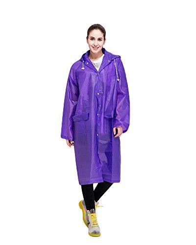 portatile impermeabile lunga da Donna con maniche lunghe da viaggio riutilizzabile Giacca da pioggia Mac Purple