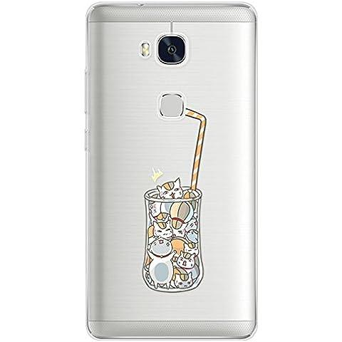 Sunroyal® 3D Case Cover Per Huawei Honor 5X Trasparente TPU Gel Silicone Bumper Cartoon Protettivo Skin Custodia Ultra-sottile Flessibile morbido Protettiva Shell con Funzione di Tappo Anti-polvere - Bevande Gatto