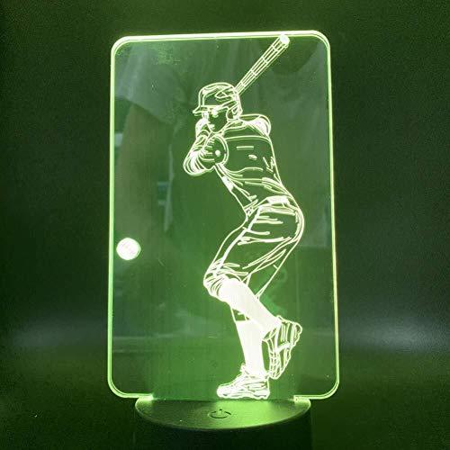 Spielen 3D-Illusion Baseball Übung Sport Reward LED-Lampe der Noten-Sensor Multi-Color Schlafzimmer Nacht Dekorative Schreibtischlampe Kids Festival Geburtstags-Geschenk-USB-Gebühren Schlummerleuchten