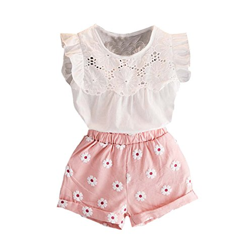 SHOBDW Girls Clothing Sets, 2PCS Toddler Kids Baby Girls Outfits Clothes T-Shirt Vest Tops+Shorts Pants Set (2-3 Years, Pink)
