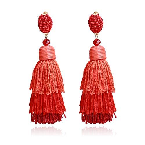 Yiyiyya orecchini donna nappe,orecchini di nappa multi-strato di moda ciondolo orecchini retrò rosso selvaggio europa e gli stati uniti popolari gioielli orecchini personalità esagerata deg