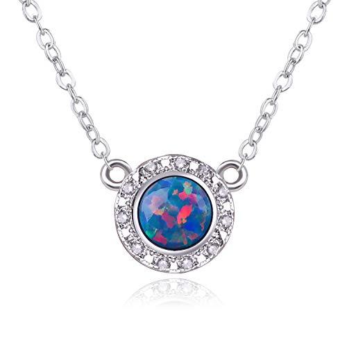 KELITCH Schmuck Kette Damen Versilbert Ketten Blue-Red Planet Runde erstellt Opal Anhänger Halskette für Frauen Herren