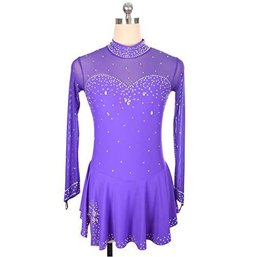 XIAOY Handarbeit Eiskunstlauf Kleid für Frauen Mädchen mit Kristallen Langärmelige,Purple,XXS