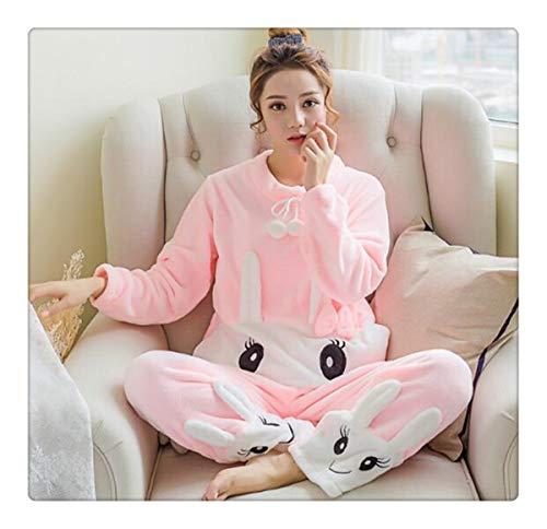 b3fa829db Winter Thickened Cute Sleeping Rabbit Coral Fleece Pajamas Soft Comfortable  Furnishing Suit Velvet Home Wear Leisure