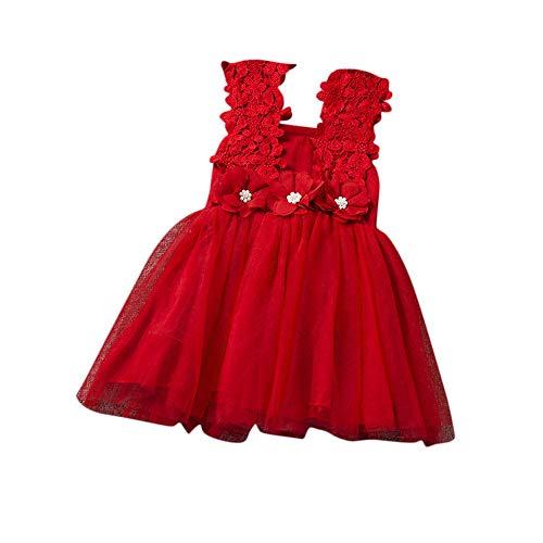 WUSIKY Sommerkleid Baby Mädchen Spitze Tüll Blume Kleid Abendkleid Dridesmaid Partykleid Minikleid Elegant Casual Tutu Rock Kinder Geschenk 2019 Neues Kinder Kleid(rot,90)