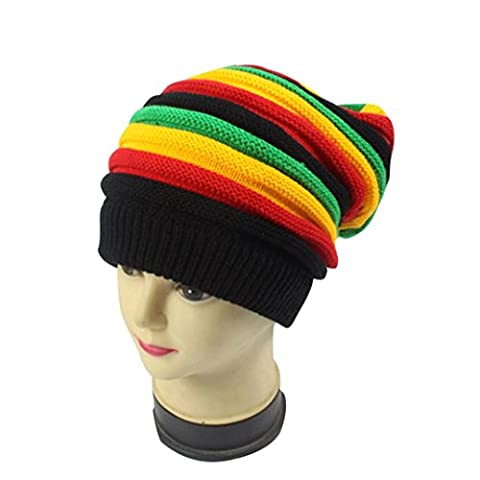Baggy Beanie Knit Hat, FeiliandaJJ Women's Winter Multicolour Striped WarmFashion Ski Hat Skull Cap