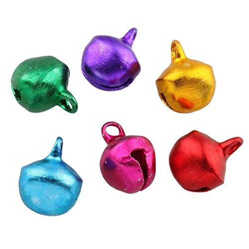 Perlin - 200 Glöckchen Glocken Schellen 10mm mit Öse Rund Mix Farbe Bunter Basteln Metallglöckchen, Mini Anhänger M57 x2