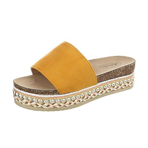 Ital-Design Pantoletten Damen-Schuhe Pantoletten Pantoletten Sandalen & Sandaletten Gelb Orange, Gr 39, G-78-