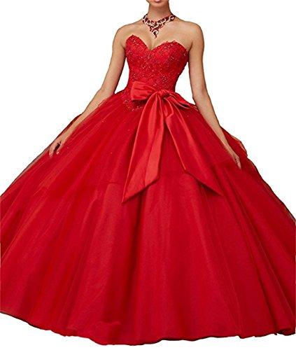 XUYUDITA Lace Appliques Ballkleid Abend Abendkleid Perlen Sequined Quinceanera Kleider Lange Rot-50...