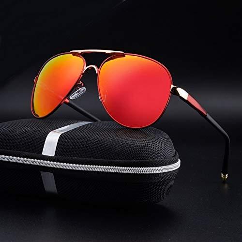 DANANGUA Polarisierte Sonnenbrille Männer Vintage New Männlich Cool Fahren Sonnenbrille Brillen Uv400 Schutz Shades For Frauen (Lenses Color : Red with box, Size : M)