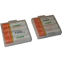 vhbw 8 x AAA, Micro, R3, HR03 baterías 1000mAh para Siemens Gigaset A400a Trio, A400a Quattro, A585 Duo, A585 Quattro, AS285, AS320, AL110