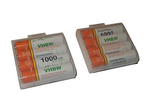 vhbw 8 x AAA, Micro, R3, HR03 Akku 1000mAh für Siemens Gigaset A510A, A510H, A510 Duo, A600A, A400, A420, A580, A585, A600, AS280