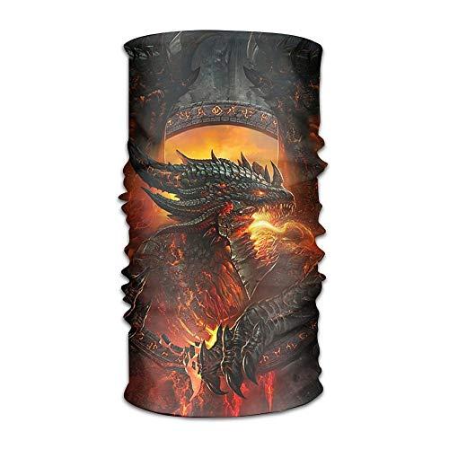 KL Decor Unisex Dragon Fire Multifunction Bandana Headband Athletic Headwear Sweatband,Magic Scarf,Neck Balaclava,Helmet Liner,Tube Mask,UV Resistence Outdoor Sport Yoga -