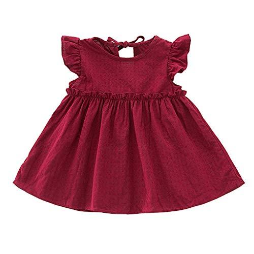 Julhold Kleinkind Kinder Baby Mädchen Oansatz Kurzarm Rüschen Solide Leinen Elegante Prinzessin Party Kleid Kleidung