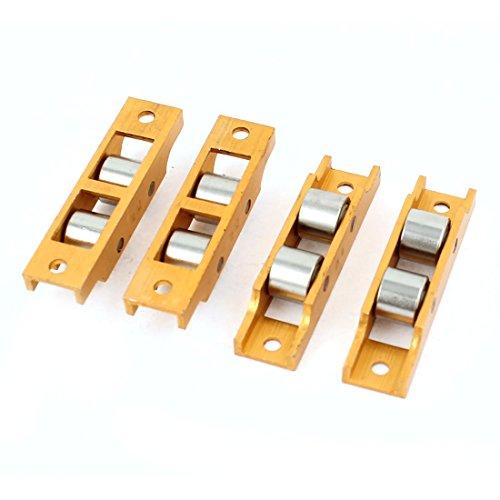 Preisvergleich Produktbild 13mm Durchmesser Dual-Flach Rollen-Tür-Fenster Sash Scheibenrad Orange 4 Stk