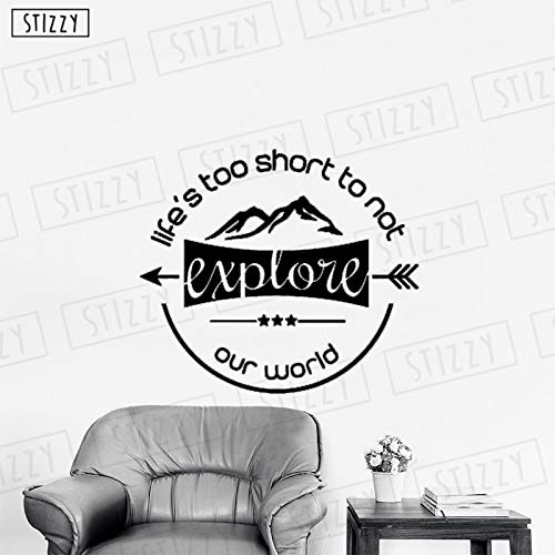 yaoxingfu Wandtattoo Abenteuer Wandaufkleber Kreative Entdecken Zitate Leben Zu Kurz Schlafzimmer Dekoration Klebstoff Abnehmbare DIY Karte Farbe 97x85 cm