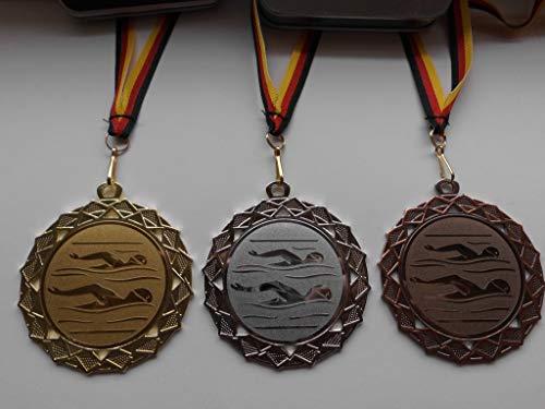Fanshop Lünen Medaillen Set - Große Stahl 70mm - Gold, Silber, Bronze, Schwimmen - Schwimmensport - mit Alu Emblem 50mm - Gold,Silber,Bronce, Medaillenset - mit Medaillen-Band - (e111) - -