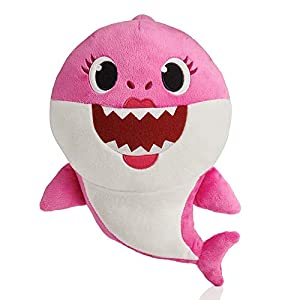 Baby Shark- Peluche Musical Mommy Shark, Color rosa (Bandai SS92512)