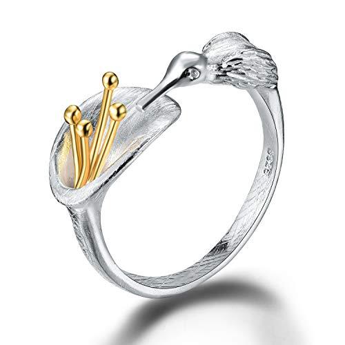 Lotus Fun S925 Sterling Silber Damen Ringe Kolibri Offener Rings Handgemachte Ring für Frauen und Mädchen.