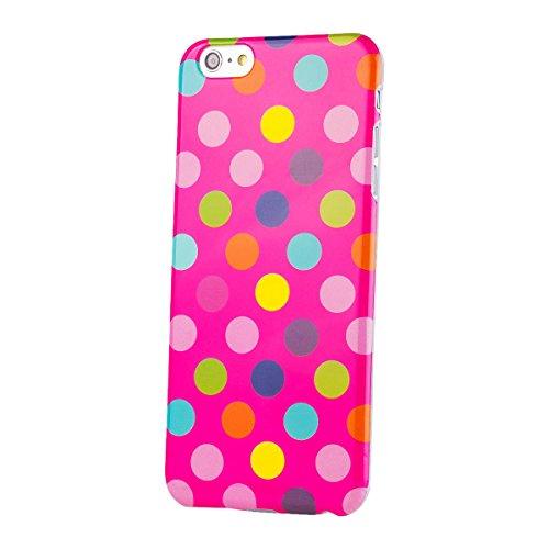 iCues Apple iPhone 6/6S + PLUS (5.5 Zoll) |  Polka Dots TPU Case Rot | [Display Schutzfolie Inklusive] Damen Frauen Mädchen Silikon Gel Motiv Muster Schutzhülle Hülle Cover Schutz Pink / multi-coloured