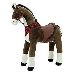 Sweety Toys 10950 Plüsch Stehpferd Sicherheit ! Chocolate Dark Höhe 110 cm Riesenpferd Robustes, stabiles Reitpferd Stahlunterbau Keine STYROPORFORM- sehr robust , kein Wackeln