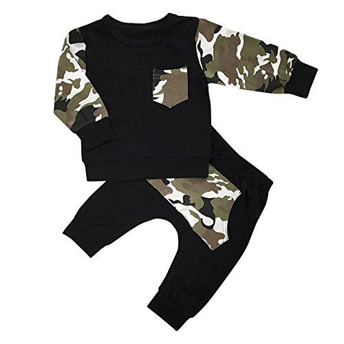 SCFEL Neugeborene Baby Kleinkind Jungen Tarnung Tops + Hosen 2 Stück Herbst Kleidungs Satz Ausstattungen