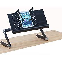 ERGONEER Hauteur réglable pour ordinateur portable Stand avec Notebook Pinces | Prime Plateau pour portable w / Jambes flexibles | Folding robuste Ventilé stand Notebook Computer Convertit Sit-support de bureau