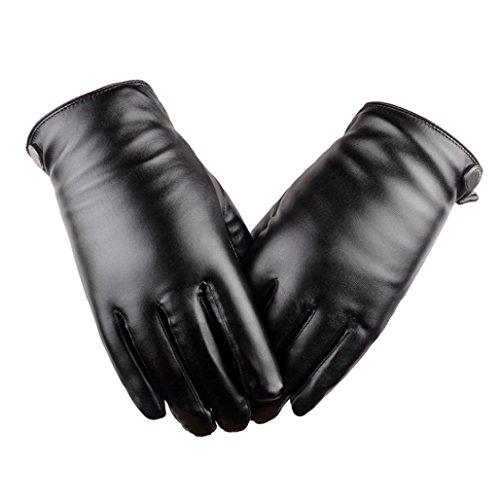 Vovotrade Adatti a nuovo degli uomini termici Guanti in pelle degli sport invernali (Nero)