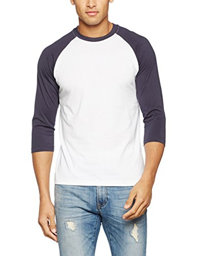Urban Classics TB366 Herren 3/4 Sleeve Bekleidung T-Shirt, Gr. X-Large, Mehrfarbig (Wht/Nvy 392) (Wht Xl-t-shirt)