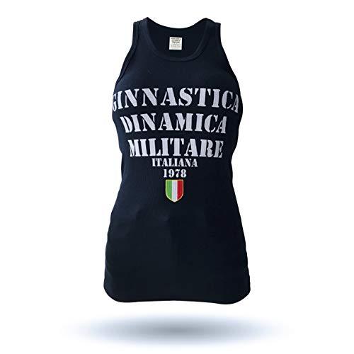GDMI Ginnastica DINAMICA Militare Italiana T-Shirt Tecnica Donna Girocollo Maniche Corte con Stampa sul Retro Effetto Rovinato e Ricamo Altezza Cuore