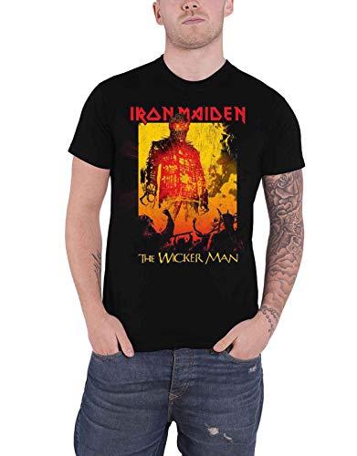 Iron Maiden T Shirt The Wicker Man Fire Band Logo Nue offiziell Herren - Man-shirt Wicker