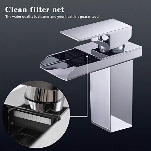 Miscelatore per lavabo e Rubinetto Cascata Rubinetto 120 ° girevole rubinetto calda e fredda Mix Rubinetto con filtro rete per bagno dimensioni: 16*13.5*5 cm