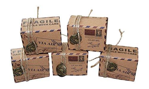 Geschenkbox Hochzeit Travel Box 50 Stk.| Brautpaar | Gastgeschenke Hochzeit | Kraftpapier | Pappschachteln | Taufe | Geschenk Box | Geburtstag