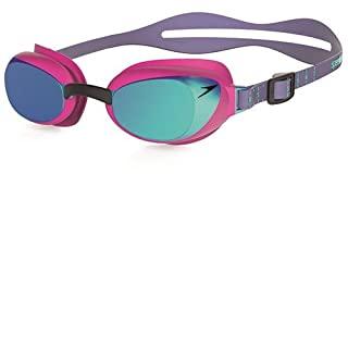 Speedo WoMen Aquapure Mirror Goggles - Pink/Blue, One Size