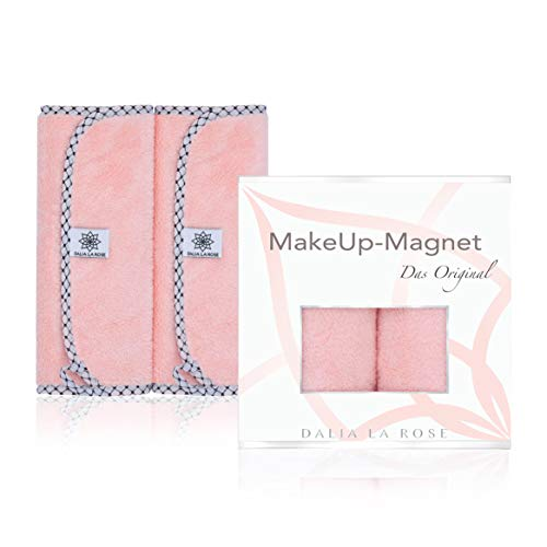DALIA LA ROSE Make-Up-Magnet - Abschminktücher Mikrofaser - beidseitig verwendbare Gesichtsreinigungstücher - Make-Up-Entferner-Tuch waschbar und wiederverwendbar - Doppelpack 50x25cm