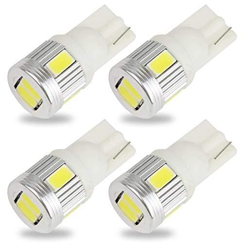Safego 4x W5W T10 Wedge 194 168 6SMD 5730 Ampoules LED Pour Intérieur Inverse Sauvegarde Blanc Xénon 6000K DC 12V
