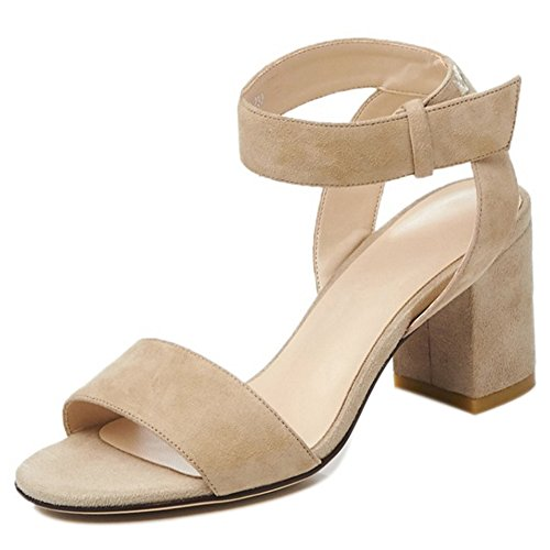 COOLCEPT Damen Mode Knochelriemchen Sandalen Open Toe Blockabsatz Schuhe  Aprikose