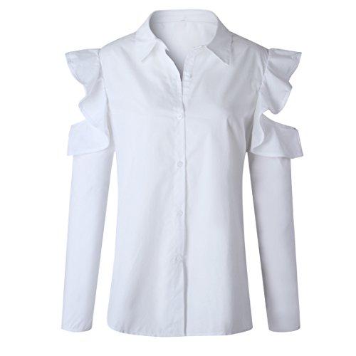 Donna Sexy Camicie Spalla Nuda Maglie a manica lunga Bluse di Colore Solido Top Autunno Bianco