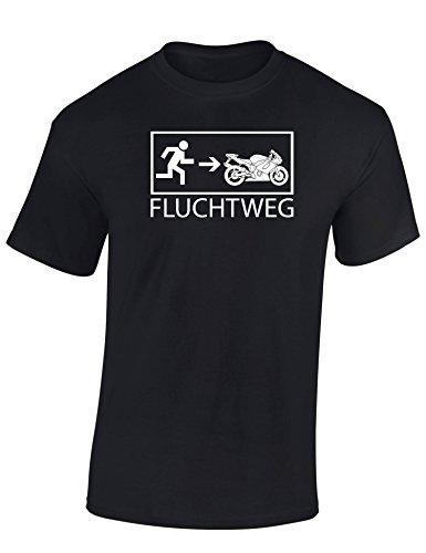Baddery Motorrad T-Shirt: Motorrad Fluchtweg - T-Shirt für Alle Biker und Motorradfahrer Herren Damen - Geschenk für Motorradfahrer - Biker T-Shirt - Motorrad Geschenke (XL) (Damen Motorrad Shirt)
