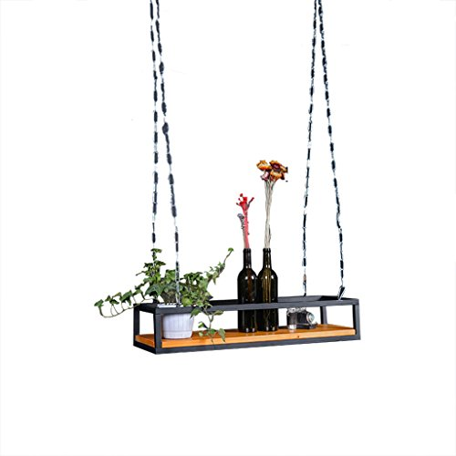 Eisenkunst-Schweberegale, feste hölzerne Stab-Kaffeehaus-Suspendierungs-hängende Decken-Aufhänger-kreative Betriebsstand-Dekoration-Blumen-Standplatz 40-120CM ( Size : 60*20*15CM )
