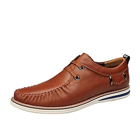 Spades & Clubs Mens Trendy Spring Italian Style Genuine Casting Leather Vogue Casual Soft Loafers Shoes Size 9 UK Brown
