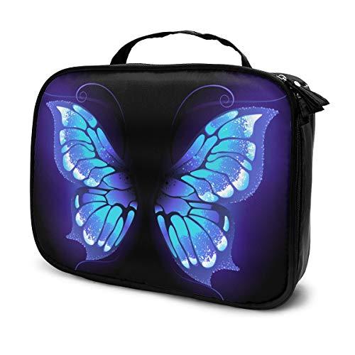 Leuchtend, lila Schmetterlingsflügel tragbare Reise Make-up Kosmetiktaschen Veranstalter Multifunktions Fall Kulturbeutel für Frauen