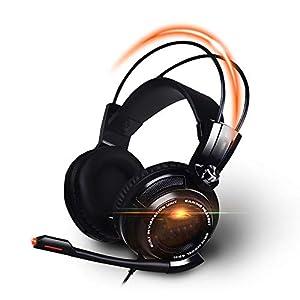 SCZZ Over Ear Gaming Kopfhörer, Stereospiel-Kopfhörer Mit Geräuschunterdrückung, Mit Atem RGB Light & Adjustable Mic Für PS4 PC Xbox One (S/X) Laptop-Mac
