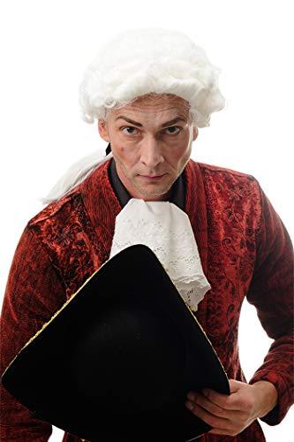 Wig me up ® -dh1126-p60 parrucca barocco uomo nobiluomo lord cavaliere compositore di corte poeta bianco riccia lunga coda