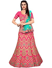 6f7fe9c6c45932 Matindra Enterprise Women's Silk With Blouse Piece Lehenga Choli  (MERL-1045-Pink_Pink_Free Size