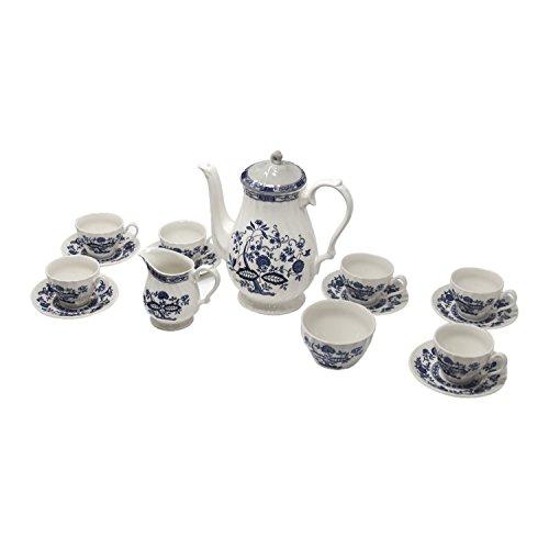 FranquiHOgar JUEGO DE CAFÉ/TÉ 27 PIEZAS. Porcelana Blanca decorada con motivos azules
